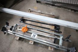 CONTENTS OF PALLET OF RHINO VAN MOUNTED PIPE TUBE, APPROXIMATELY 9' LONG, 3x VAN MOUNTED LADDER