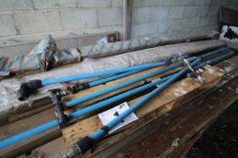 CONTENTS ON PALLET OF BLUE PIPING, ELBOWS, FLOW TAPS, WHITE NARROW-BORE PIPING