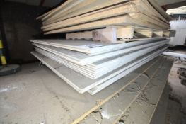 """CONTENTS ON PALLET OF 25MM THICK PLYBOARD FLOOR DECKING, APPROXIMATELY 8' x 56"""". FORKLIFT CHARGE £4"""
