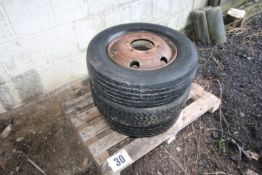 CONTENTS ON PALLET 3 LIGHT COMMERCIAL VEHICLE WHEELS AND TYRES SIZE 215/75R/17.5