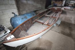 APPROXIMATELY 4.5M, TIMBER FRAMED BOAT WITH LAUNCHING TRAILER