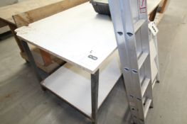 METAL FRAMED TIMBER TOPPED WORK BENCH 71INCH x 34INCH HIGH