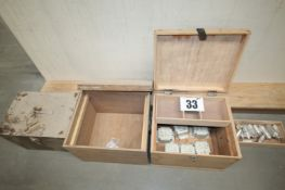 3 WOODEN LIFT LID CHESTS MEASURING APPROX. 20INCH WIDTH COMPLETE WITH CONTENTS ELECTRICAL FITTINGS