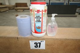 4L TUB OF WURTH HAND CLEANER & 2 SMALL BOTTLES OF HAND SANITISER
