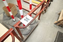 STEEL FABRICATED FLATDECK TROLLEY 50INCH x 32INCH WITH RED METAL HANDLE