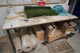 71INCH METAL FRAMED, WOODEN TOPPED WORK BENCH & CONTENTS ON TOP & UNDER BENCH INC. ARTIFICIAL GRASS,