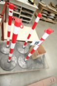 JSP PORTABLE BARRIER SYSTEM COMPRISING 4 RED & WHITE POSTS WITH BASES & QTY OF RED & WHITE PLASTIC