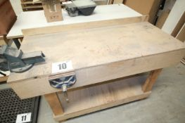 59INCH x 25INCH x 32INCH HIGH TIMBER FRAMED WORKBENCH COMPLETE WITH 4.5INCH ENGINEERS VICE & 7INCH