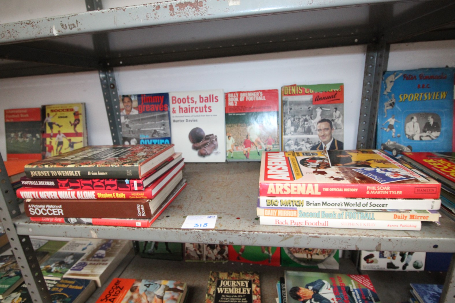 SHELF OF SPORTS BOOKS INCLUDING JIMMY GREAVES, ARSENAL, YOU'LL NEVER WALK ALONE