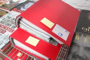 2x RED MANCHESTER UNITED MATCH DAY PROGRAM FOLDERS, SEASON 2011 / 12