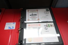 RED RING BINDER AND CONTENTS OF FIRST DAY COVER POSTCARDS ARSENAL V. MANCHESTER UNITED