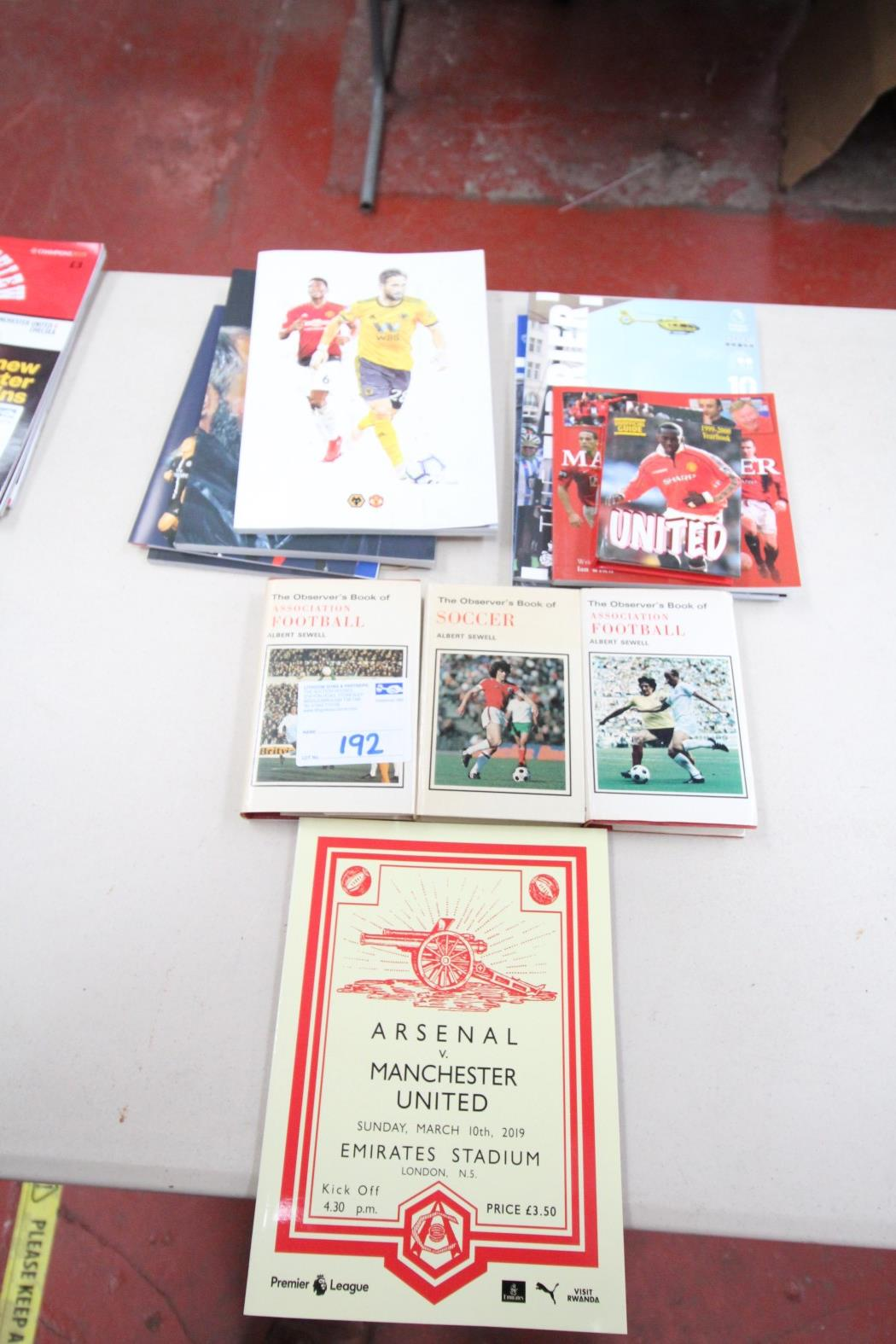 QUANTITY OF PAPERBACK BOOKS AND PROGRAMS, INCLUDING ARSENAL V. MANCHESTER UNITED MARCH 2019,