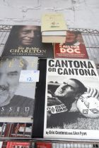 4x BOOKS INCLUDING 'CANTONA ON CANTONA', 'GEORGE BEST', 'SIR BOBBY CHARLTON FLIGHT OF FOOTBALL', '