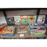 SHELF OF SPORTS BOOKS INCLUDING FOOTBALL CHAMPIONS, WORLD SOCCER A TO Z