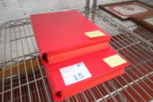 2x RED MANCHESTER UNITED MATCH DAY PROGRAM FOLDERS, SEASON 1999 / 2000