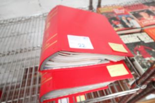 2x RED MANCHESTER UNITED MATCH DAY PROGRAM FOLDERS, SEASON 2005 / 06
