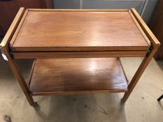 Mid-century drinks trolley with expanding top shelf