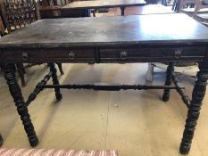 Two draw occasional table on bobbin turned legs with turned cross stretcher in the manner of