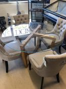 Modern circular glass topped table on wooden frame with four new upholstered fawn button back