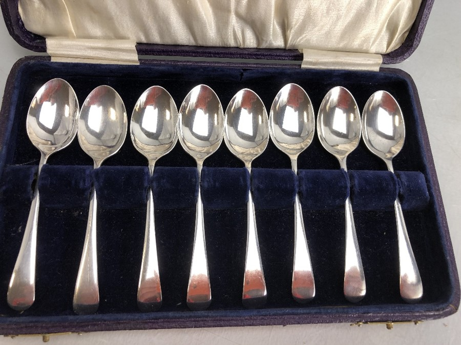 Boxed set of eight Silver hallmarked teaspoons by maker Arthur Price & Co Ltd