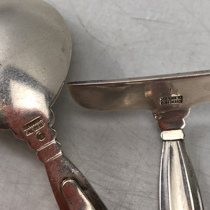 Silver Christening set of spoon and pusher marked Sterling for George Jensen - Image 5 of 6