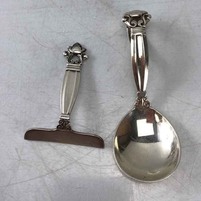 Silver Christening set of spoon and pusher marked Sterling for George Jensen