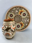 Charlotte Rhead for Crown Ducal charger, with stylised floral centre surround and a Charlotte