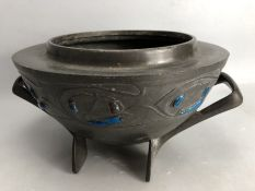 Pewter & Enamel urn with Blue applied enamel and twin handles in the Arts & Crafts style