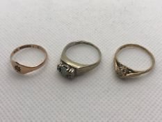 Three 9ct Gold rings total weight approx 5.8g