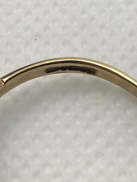 Hallmarked 9ct Gold Boat ring size 'Q' - Image 5 of 5