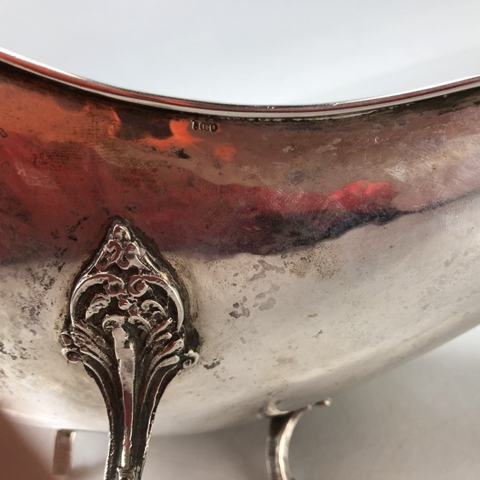 Large Continental Silver Bowl on scroll legs (marked 800) approx 580g and 40 x 21 x 9.5cm tall - Image 7 of 8