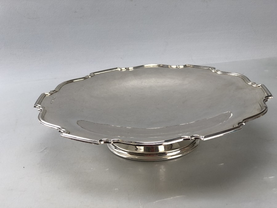 Silver hallmarked large dish on single foot approx 552g/ 26cm diameter - Image 3 of 6