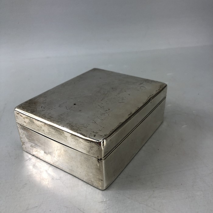 Silver Hallmarked Cigarette box 11.5 x 9 x 4.3cm approx 357g inscribed J.N.C Birmingham by C & Co - Image 5 of 8