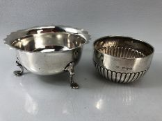 Victorian Hallmarked Chester silver bowl 1898 by Hilliard & Thomason and a hallmarked silver bowl on