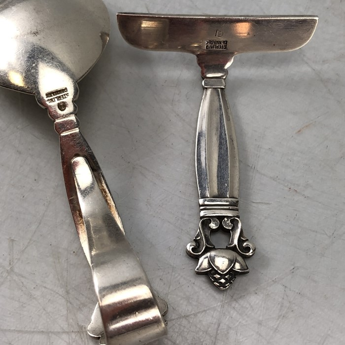 Silver Christening set of spoon and pusher marked Sterling for George Jensen - Image 4 of 6