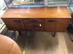 Mid-century small sideboard on legs with two drawers and two cupboards