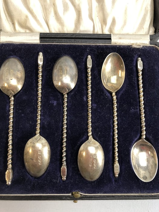 Six hallmarked silver spoons with twisted stem and square handle by maker Cooper Brothers & Sons Ltd - Image 6 of 7