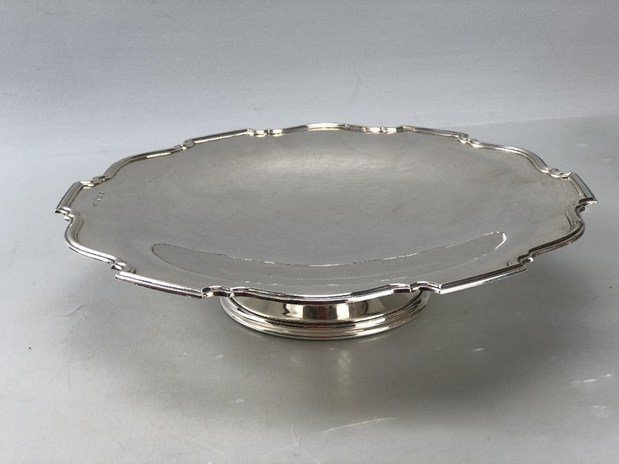 Silver hallmarked large dish on single foot approx 552g/ 26cm diameter - Image 2 of 6
