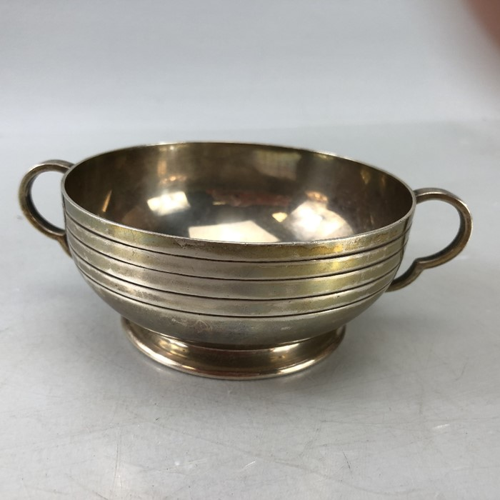 Silver London hallmarked twin handled bowl approx 172.5g by Edward Barnard & Sons Ltd engraved ""