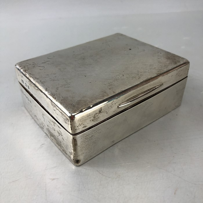 Silver Hallmarked Cigarette box 11.5 x 9 x 4.3cm approx 357g inscribed J.N.C Birmingham by C & Co