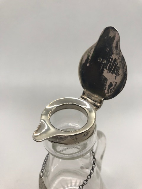 Glass whisky noggin with hallmarked silver pourer and silver hallmarked whisky label - Image 4 of 9