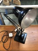 Mid century black anglepoise-style lamp on heavy metal base by Herbert Terry & Sons of Redditch