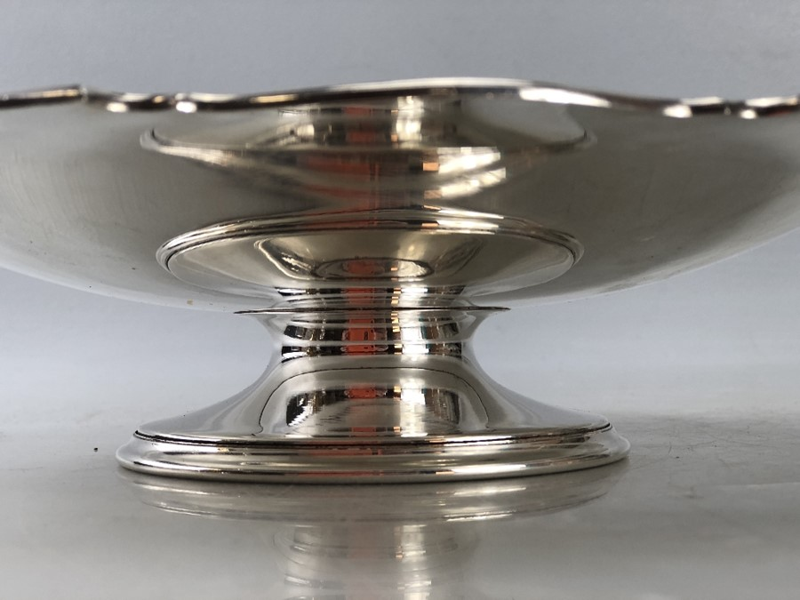 Silver hallmarked large dish on single foot approx 552g/ 26cm diameter - Image 6 of 6