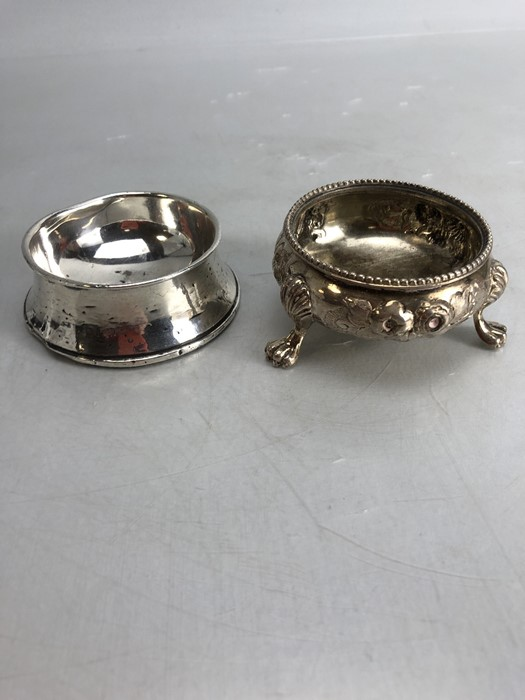 Silver hallmarked salt and a silver hallmarked pin dish