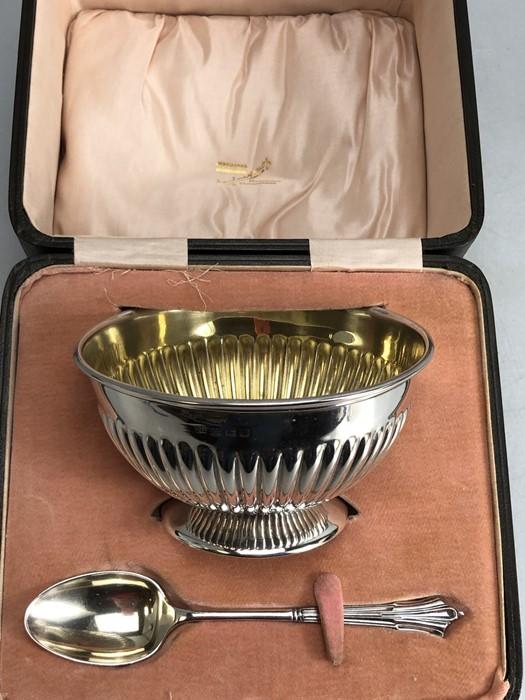 Hallmarked silver Bowl and spoon in original presentation case