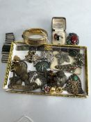 Collection of revival and some antique jewellery to include hallmarked silver rings and a hallmarked