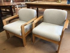 Pair of Mid Century upholstered low armchairs