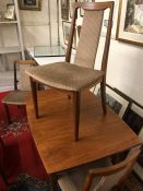 Mid-century extending dining table and four chairs