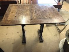 Small oak table with plank top, approx 92cm x 65cm x 74cm tall
