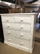 Solid pine white painted chest of five drawers